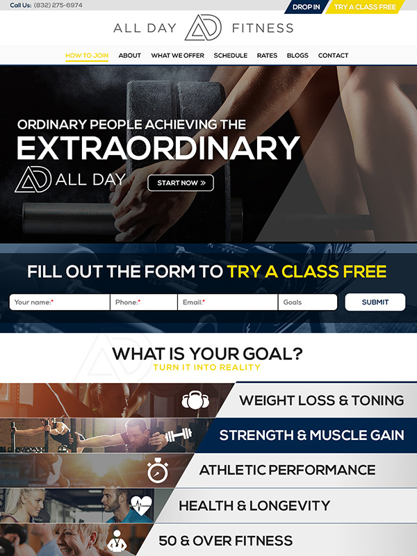 All Day Fitness Website Design And Lead Funnel Automation Marketing