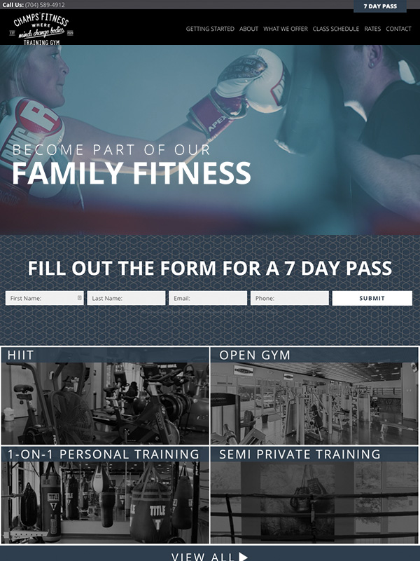Champions Fitness Gym Website Design And Lead Generation