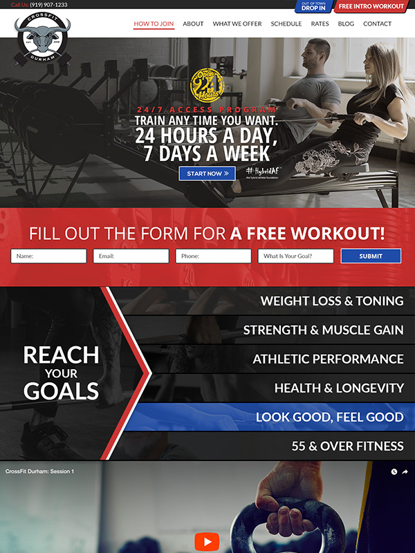 Best CrossFit Fitness Gym Website Design CrossFit Durham