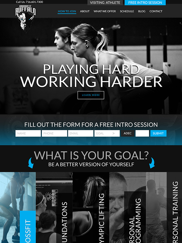 CrossFit Buffalo Fitness Center Website Design