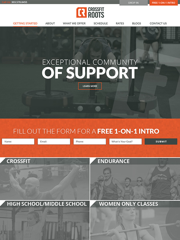 CrossFit Roots Website Design And Click Funnel Pages
