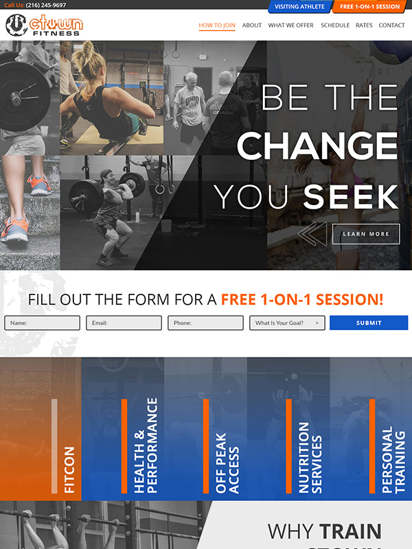 Lead Conversion Websites For Gyms Reference Train CTOWN Gym Website Design