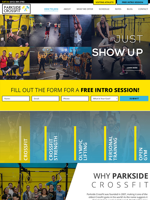 Gym Website Design Lead Generation For Parkside CrossFit Training Gym