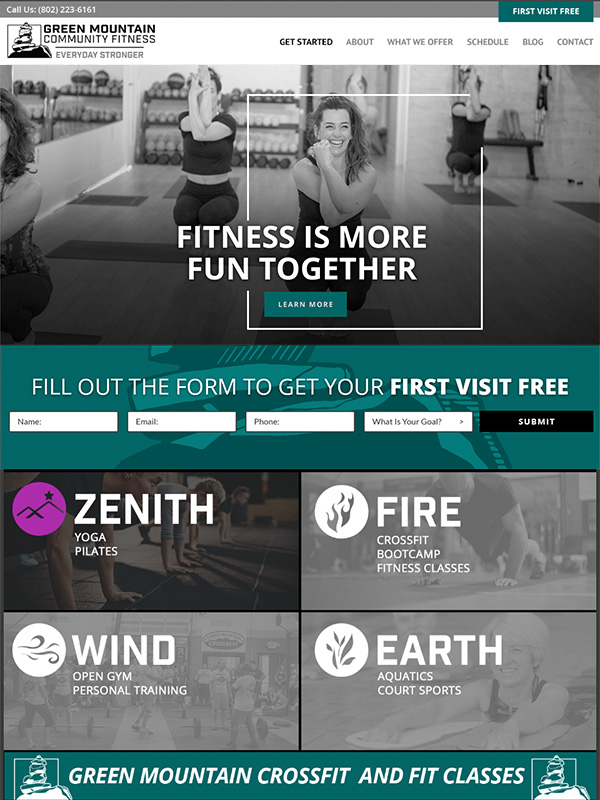 Green Mountain Fitness Website Design