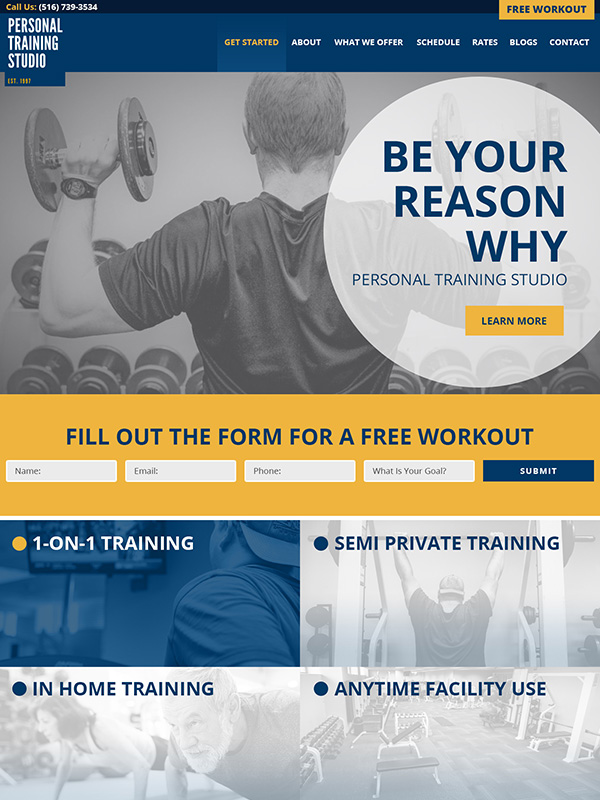 Personal Training Fitness Studio Website Design And Google Search Engine Optimization