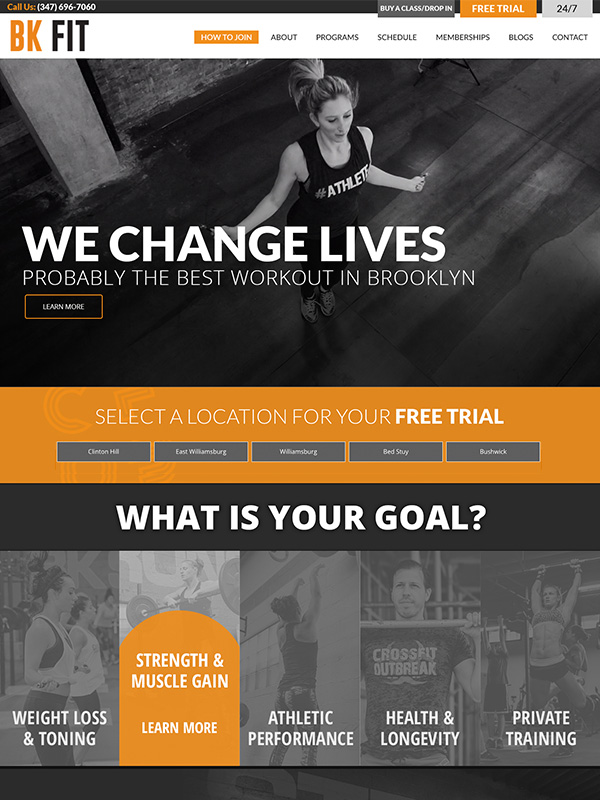 BK Fitness Training Studios Website Design and Facebook Marketing