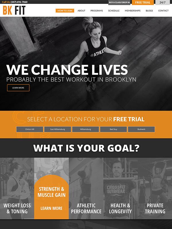 BK Fitness Training Studios Website Design and Facebook Marketing