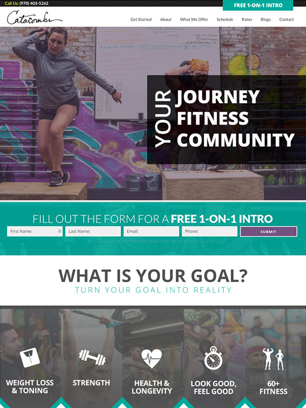 Award Winning Catacombs Fitness Website Design