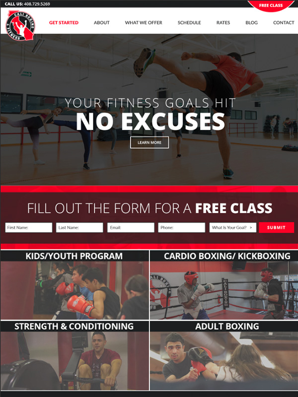 Boxing And Kickboxing Website Design And Member Lead Generation
