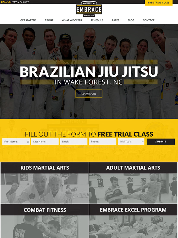 BJJ And Martial Arts Website Design And Lead Generation Funnel Marketing