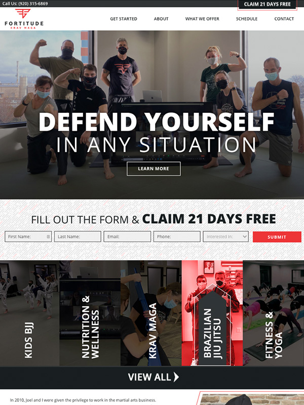 Krav Maga, Karate And Martial Arts Website Design And Lead Generation Marketing