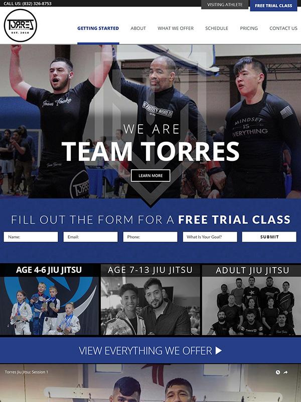 Torres Jiu Jitsu And Martial Arts Website Design